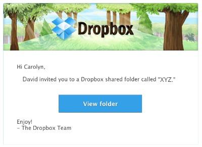 Email Dropbox Shared Folder