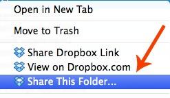 Sharing Dropbox Folder from Computer