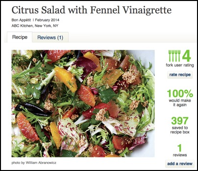 Epicurious Citrus Salad Recipe