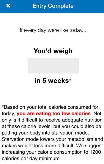 MFP Warning below 1200 calories
