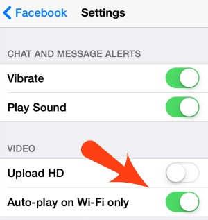 iPhone Auto Play settings Facebook