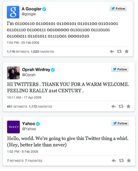 #FirstTweet Oprah Google Yahoo