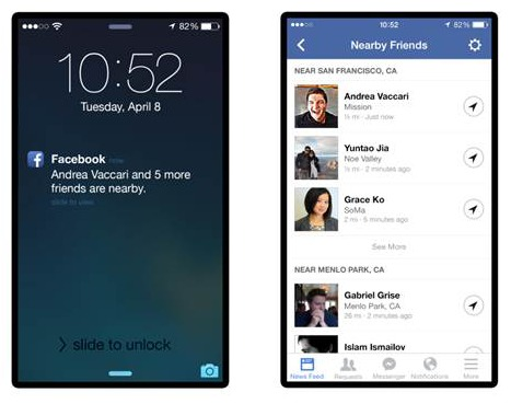 Facebook Nearby Friends Notification