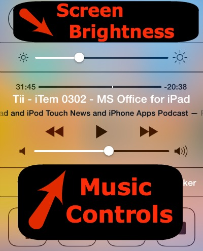 Control Center Music and Brightness Controls