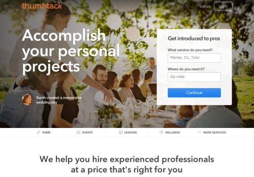 Thumbtack Home Page