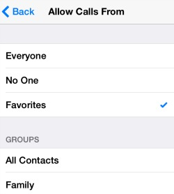 Do Not Disturb Allow Calls From
