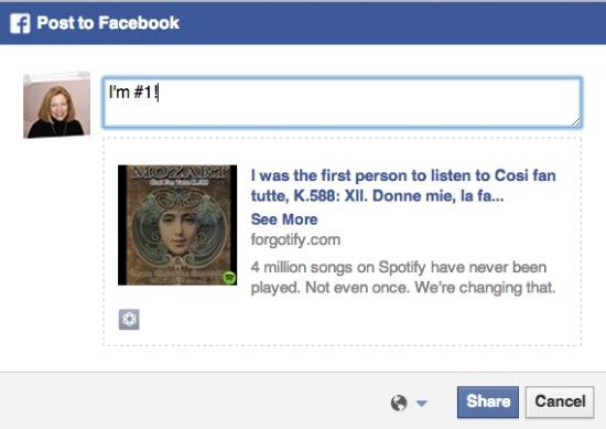 Forgotify Facebook Sharing