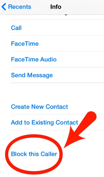 Block caller in iPhone Contacts