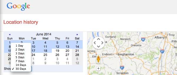 Google Location History Calendar