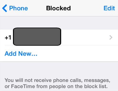 Blocked Callers List iPhone