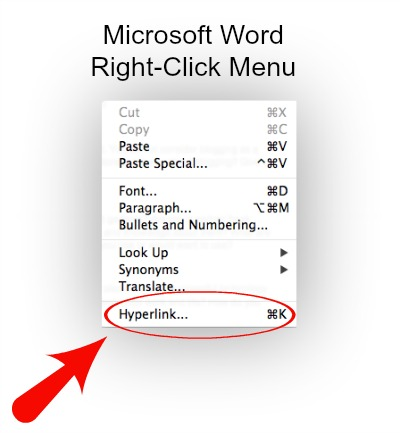 Hyperlink Text Microsoft Word