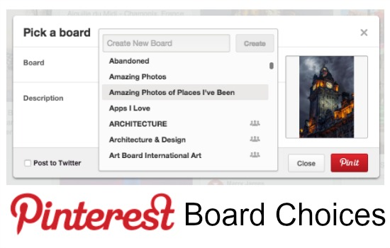Alphabetical List of Pinterest boards