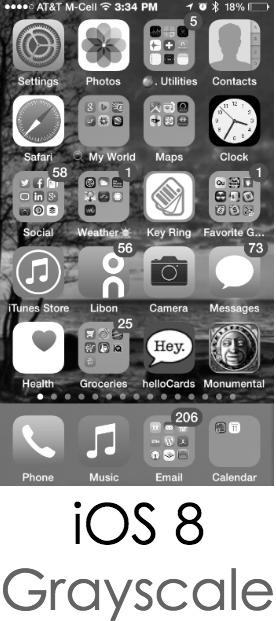 iOS 8 Black & White Screen