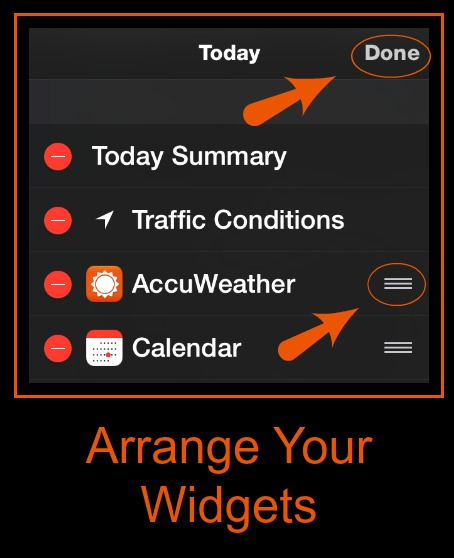 iPhone Widgets Change Order