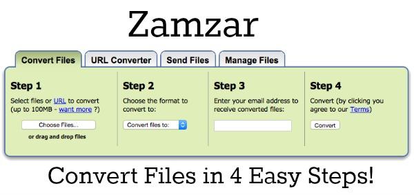 Zamzar Convert files in 4 steps