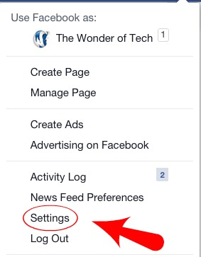 Facebook Menu Drop Down
