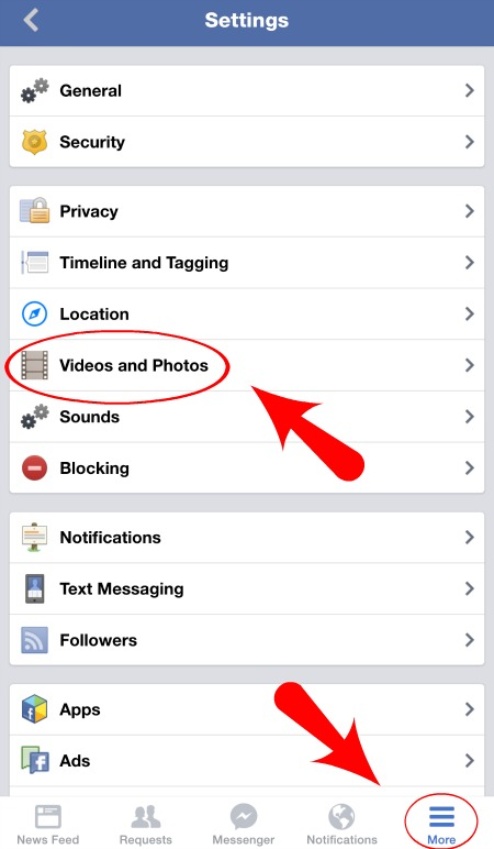 Facebook Video and Photo Settings