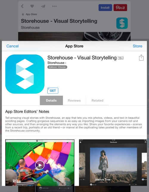Pinterest App Pins Listing