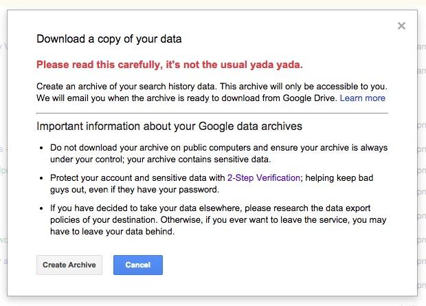 Google Warning Search History Download