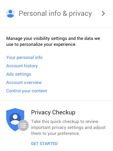 Google My Account Personal Info