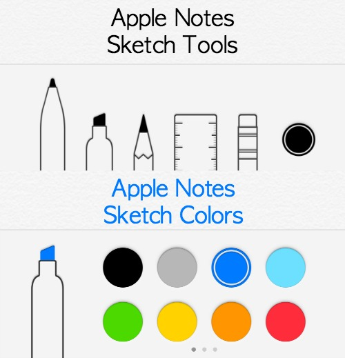 Apple Notes Sketch Options