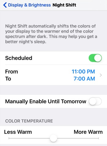 iPhone Night Shift Blue Light Settings
