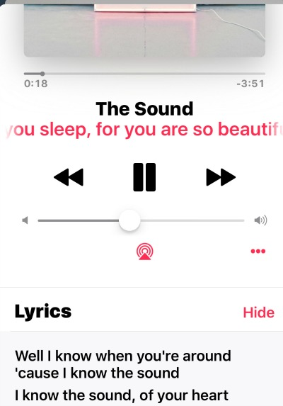 Apple Music Lyrics in iOS 10