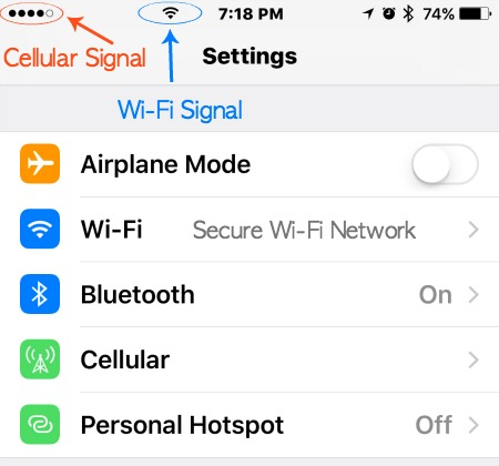 Cellular and Wi-Fi Signal icons