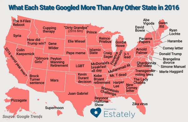 Google Searches US States 2016