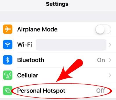 iPhone Settings Hotspot Option