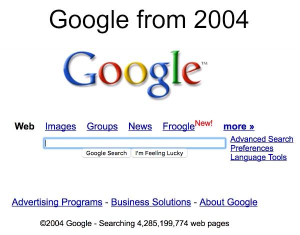 The Wayback Machine Google 2004