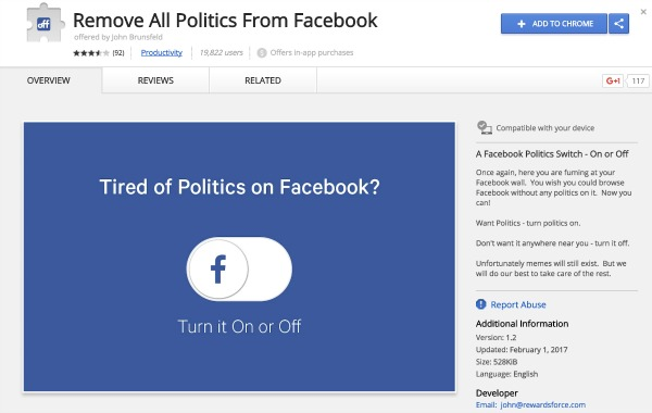 Chrome Extension Blocks Political Posts on Facebook