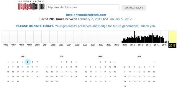 Wayback Machine Search Results