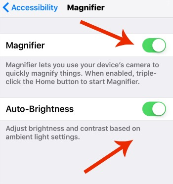 iPhone Magnifying Glass Settings