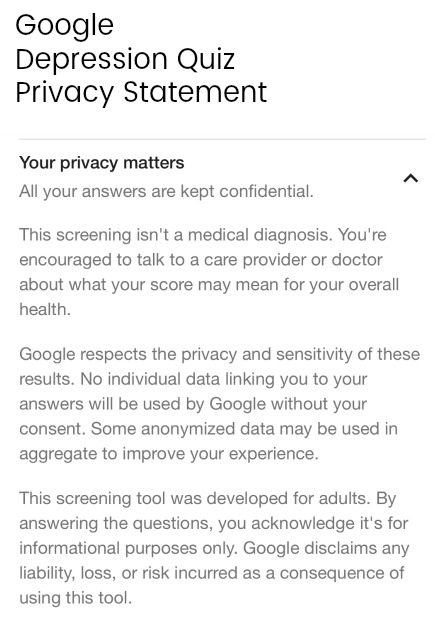 Privacy Statement for Google Depression Quiz