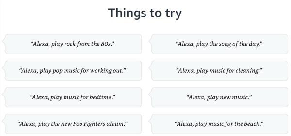 Amazon Alexa Sample Music Commands