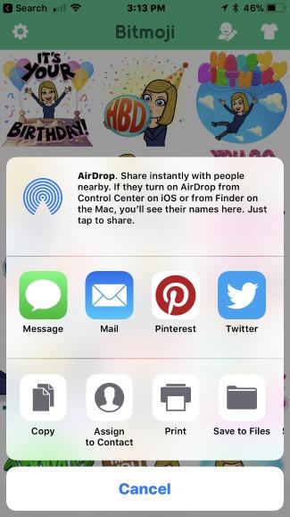Bitmoji Sharing Screen iPhone