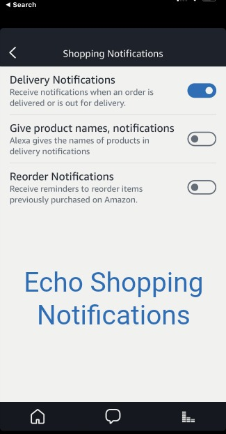 Shopping Notification Settings in the Alexa App