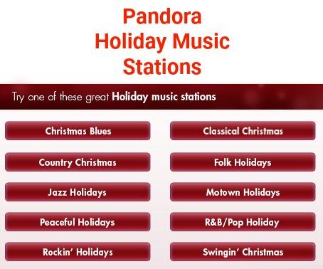 2017 Holiday Music Stations Pandora Radio